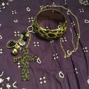 Leopard print cross necklace and bangle set